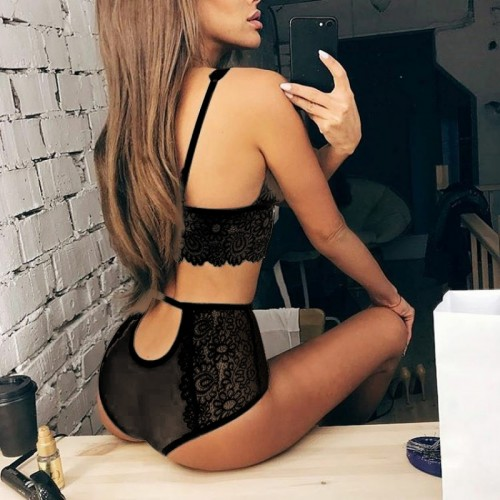 Women Transparent Intimate Lingerie Bralette Bra Set Underwear Panty Lace Set lingerie Underwear Female Bras Brief