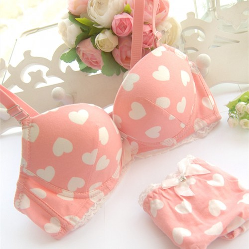 sweet heart underwear set push up lace bow young girl pure cotton bra set