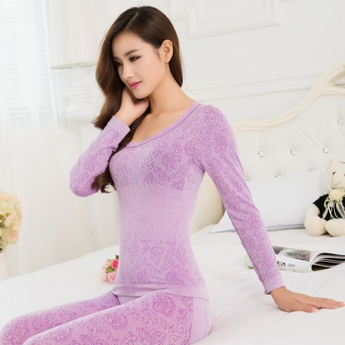 Ladies Thermal Underwears Seamless Antibacterial Warm Long Johns Women Body Shaped Underwear