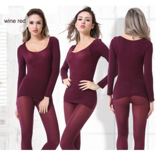 Winter 37 Degree Women slim under wear Thermal Underwear Set Ultrathin Heat Long Johns Elastic Seamless