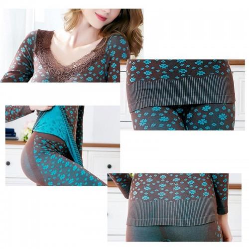 Women fashion beauty Thermal underwear set body shaping autumn winter long