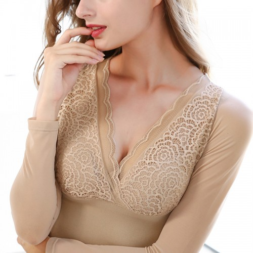 Women s Thermal Underwear Tops V neck Long Sleeve Lace Mesh Pacthwork