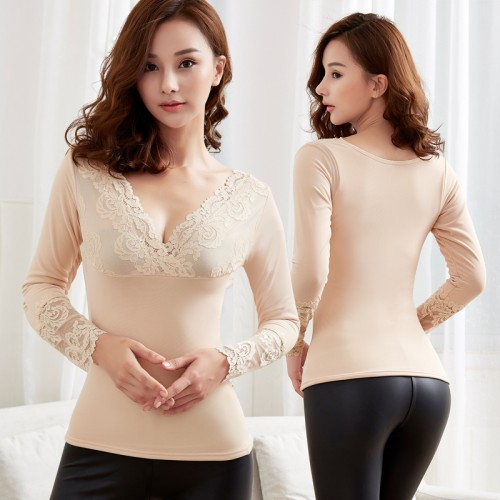Women thermal underwear Warm Long Johns Lace V neck Soft Winter Thicken Plus