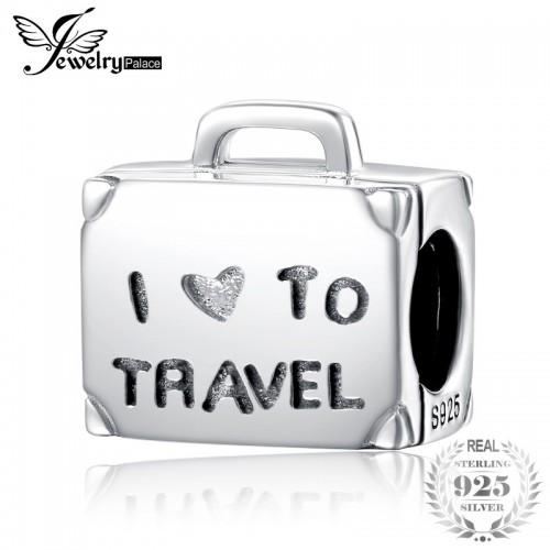 I Love Travel Luggage Charm Bead Fit Bracelets Sterling Silver Bead Charm Fashion Women.jfif