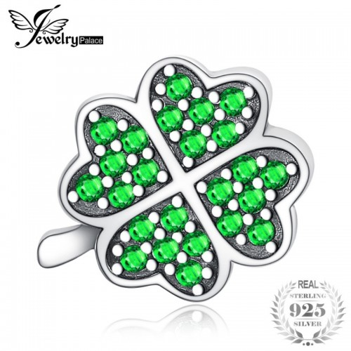 Luck Irish Clover 0 6ct Green Cubic Zirconia Sterling Silver Charm Beads For Women.jfif