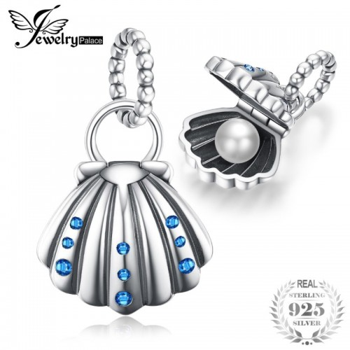 Sea Love Oyster Shell Clam Pearl Blue Cubic Zirconia Sterling Silver Charm Beads.jfif