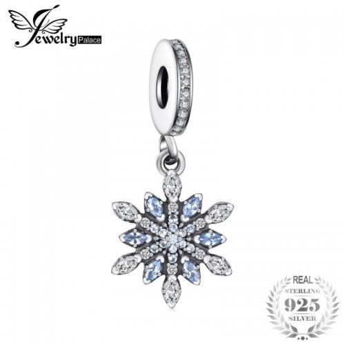 Sterling Silver Froast Flower Created Blue Nano Dangle Beads Charms Fit Bracelets Fashion Jewelry.jfif