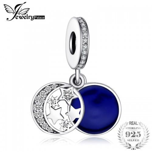 Sterling Silver Secret Blue Love Charms Beads Fit Bracelet Bangle Moon Star Dangle.jfif