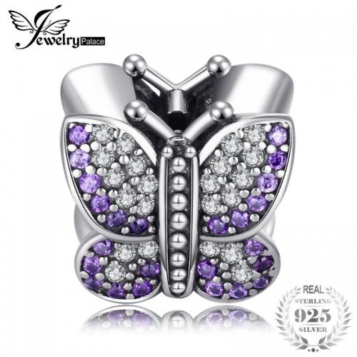 Sterling Silver Shimmering Butterfly Cubic Zirconia Purple Murano Glass Beads Charms Fit Bracelets.jfif