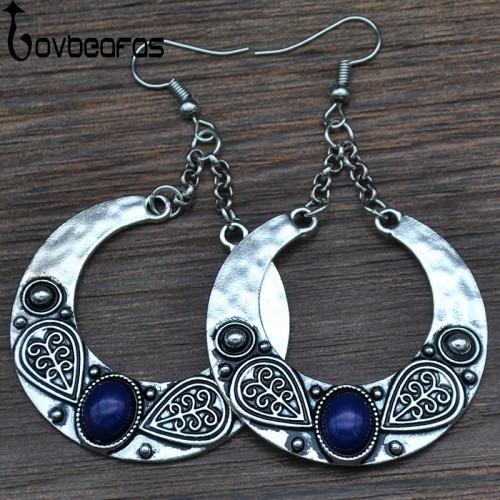 Fashion Boho Big Drop Earrings For Women Jewelry Brinco Carved Vintage Tibetan Silver Bohemian