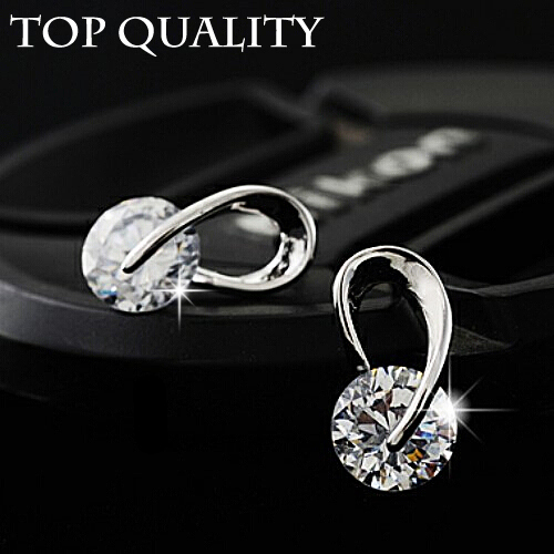 17KM Austria Crystal Wedding pendientes mujer Silver Color Zircon Crystal Stud Earrings Fashion Jewelry for Women