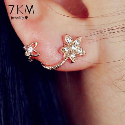 17KM Brand New Rose Gold Color Crystal Flower Earrings Luxury Double Sided Stud Earring joyeria Maxi