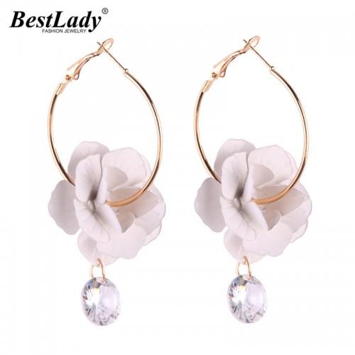 Best lady Korean Fashion Flowers Statement Earrings Ladies Bohemian Drop Dangle Earring for Women Wedding Jewelry