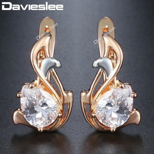 Davieslee Teardrop Black CZ Leaf Dangle Earrings for Women Cubic Zirconia 585 White Rose Gold Filled
