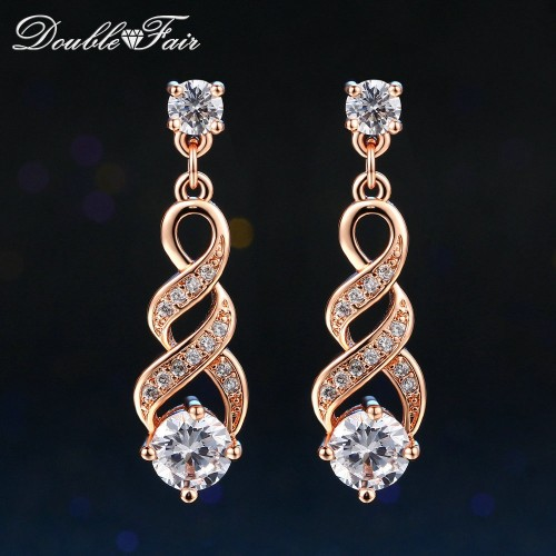 DoubleFair Four Claw 6mm Cubic Zirconia Drop Dangle Wedding Earrings Rose Gold Silver Color Jewelry