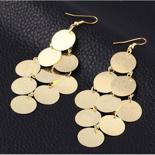 European and American fashion punk rock nightclub exaggerated frosted Wafer Drop Tassel Earrings XY E738