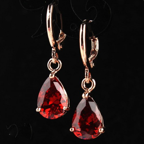 Fashion Rose Gold Color Drop Earrings for Women Wedding Party Engagement Vintage Jewelry Water Drop CZ