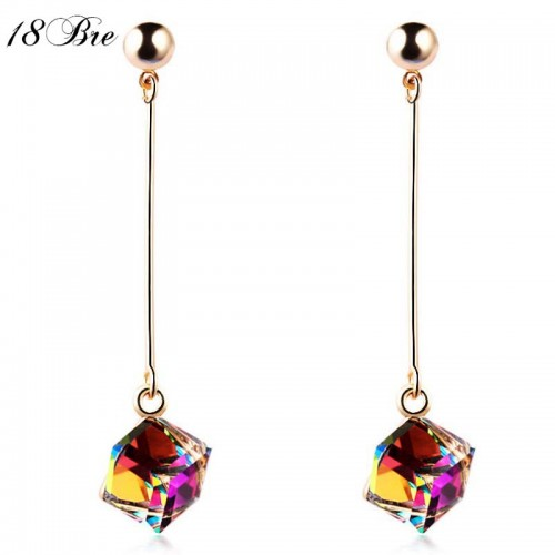 Fashion fine jewelry charm earrings with stones multicolor simple long drop cube crystal red jewelry dangle
