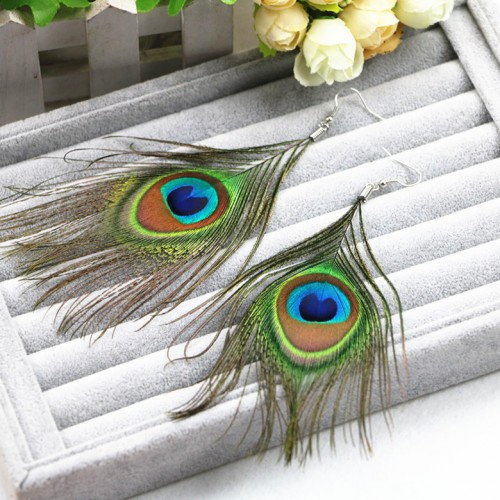 H HYDE Fashion Hot Selling New Style Assorted Color Peacock Natural Feather Earrings Wholesale Drop Earrings