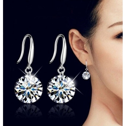 H HYDE Top Sale Silver Color Earrings for Women 7 Colors Crystal Long Drop Earing Brincos