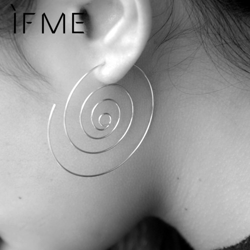 IF ME New Fashion Jewelry Gold Color Spiral Stud Earrings Round aretes Simple Style Silver Color