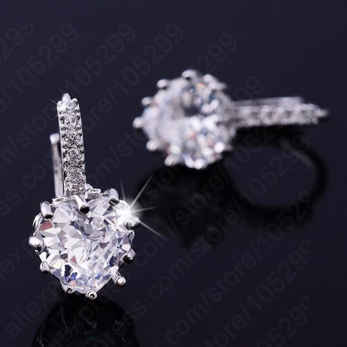 JEXXI Luxury Colorful Heart Band Real Pure 925 Sterling Silver Jewelry Cubic Zirconia Stone Earrings Fashion