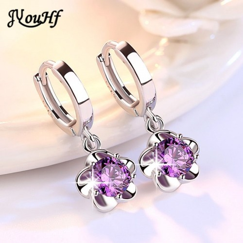 JYouHF Flower Drop Earrings Fashion 925 Sterling Silver White Purple CZ Zircon Crystal Earrings for Women