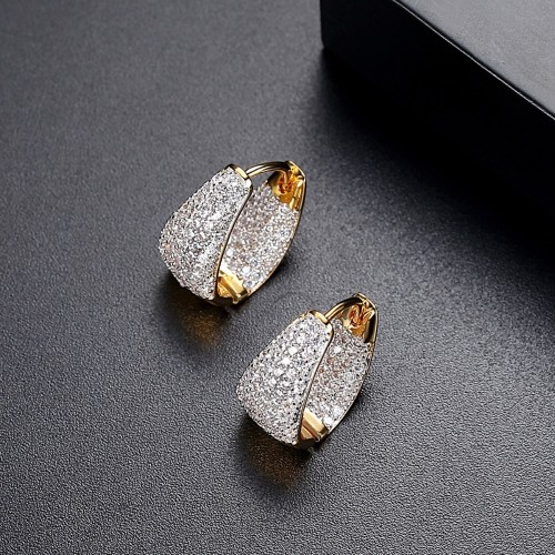 LUOTEEMI Grace Refinement Fashion Vogue Gold Color Clear Stud Earrings Paved Micro AAA Cubic Zircon Ear