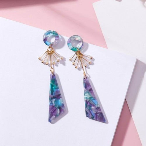 MENGJIQIAO New Elegant Colorful Triangle Acrylic Long Earrings For Women Small Circle Crystal Tassel Boucle