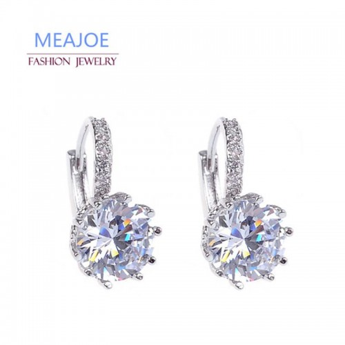 Meajoe Trendy Silver Plate 6 Color Charm Stud Earring Round Cubic Zircon Metal Vintage Earrings Jewelry