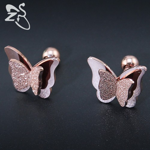 New Butterfly Earrings Rose Gold Color Stainless Steel Stud Earrings for Women Child Frosted Butterfly