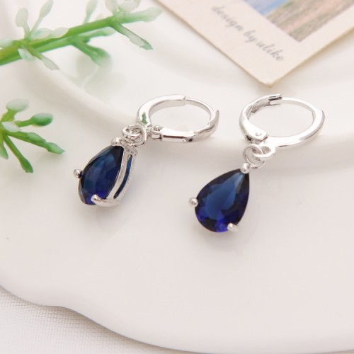 New Summer Style Royal Blue Austria Crystal Silver Clip Dangle Earrings For Woman Charm aretes