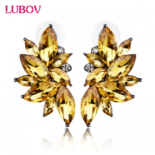 Opal Stone Stud Earrings Christmas Party Brand New Elegant Crystal Earrings For Women Trendy Golden