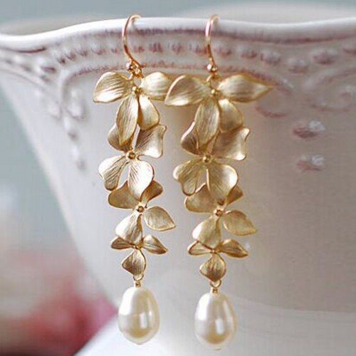 Orchid Floral Shape Gold Color Simulated Pearl Long Dangle Earrings Wedding Bridal Party Luxury Vintage Leaf