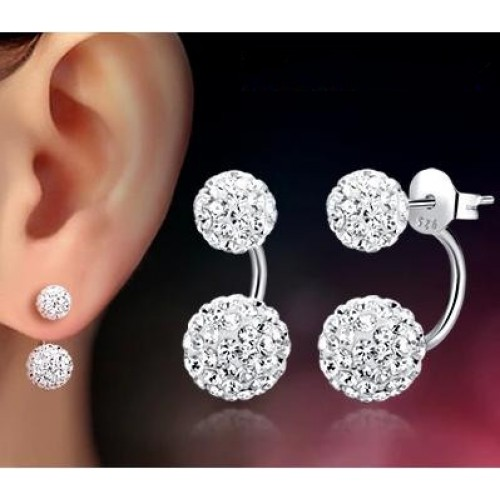 Promotion wholesale 30 silver plated fashion U bend earring shiny Shambhala ladies stud earrings jewelry allergy