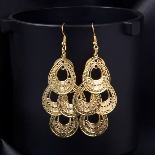 SHUANGR Fashion Hollow Waterdrop Drop Earrings For Women Brincos Pendientes Gold color Dangle Earrings Dubai Golden
