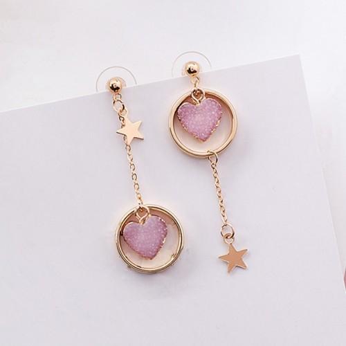 Sweety Korean Colourful Stone Love Heart Earrings For Girl Alloy Circle Star Pendant Asymmetry Earings