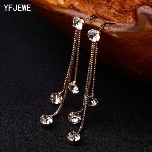 YFJEWE New Fashion Drop Rhinestone Earrings Brief Personality Tassel Long Design Sparkling Crystal Earrings Female Earrings