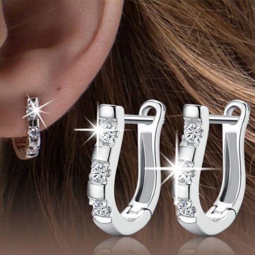 silver plated earrings Set auger earrings Fashion silver jewelry manufacturers wholesale female models harp earrings