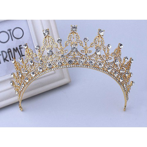 Golden with White Stones Luxury Crystal Tiara Crown Headband