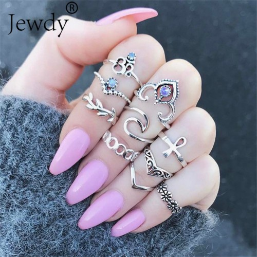 10PCS Set Bijoux Boho Mid Ring Sets Opal Stone Rings Brinco Crystal Knuckle Rings Masculino Mujer