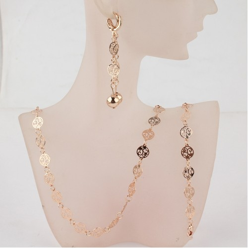 Fashion Vintage Jewelry Gold Color Wedding Set Necklace Bracelet Earrings Bridal Jewelry Sets Gift