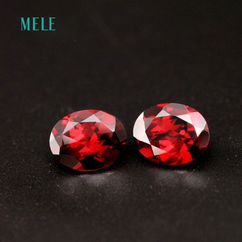 Natural red garnet in oval shape 8mm 10mm deep red color good cutting and fire used