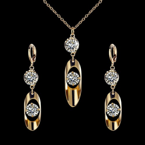 Crystal Jewelry Set Necklace Earrings