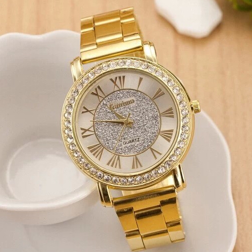 New Famous Brand Gold Arenaceous Rhinestone Casual Quartz Watch Women Full Steel Watches Luxury Watch