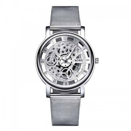 2017 New Hot Sell Brand SOXY Silver Wrist Watch Simple Style Mesh Belt Women Quartz Watches