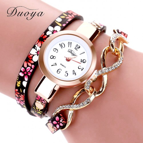 Duoya Luxury Watch Fashion Women Thin Leather Bracelet Watch Ladies Dress Quartz Wristwatch