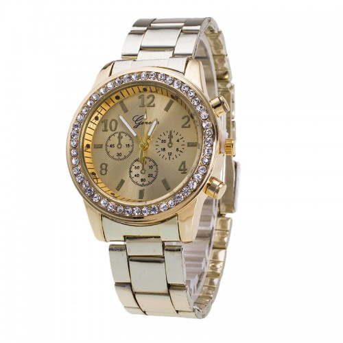 High Quality Geneva Brand Full Steel Watch Women Ladies Men Fashion Crystal Dress Quartz Wrist Watch
