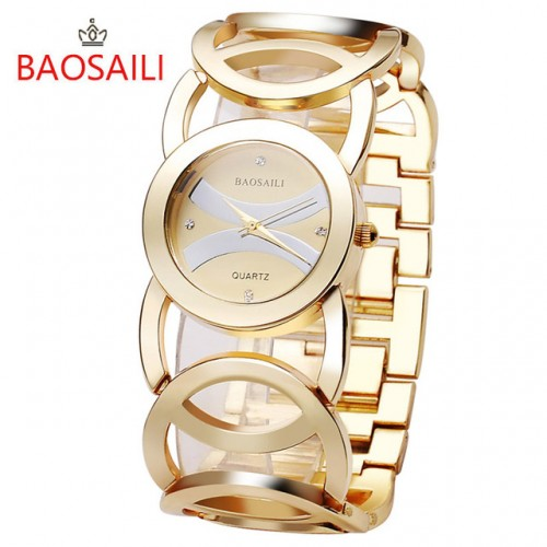 JW089 BAOSAILI Brand Imitation Gold Plated Circles Strap Stainless Steel Back Shinning Women Watches Fashion Wrist.jpg 640x640