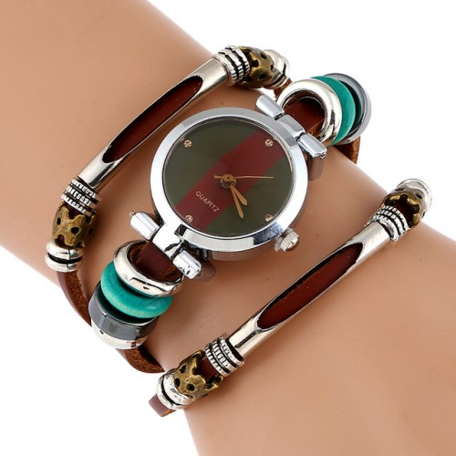 NEW Genuine Leather Watch Women Triple Bracelet Wristwatch Italian Style Green Coffe Stripes Fashion Reloj Para.jpg 640x640